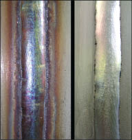 heat tint(left image)/ Cleaned surface(right image