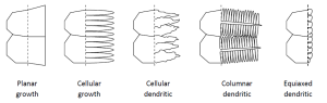 different types of structure likely to be seen in the weld solidified zone